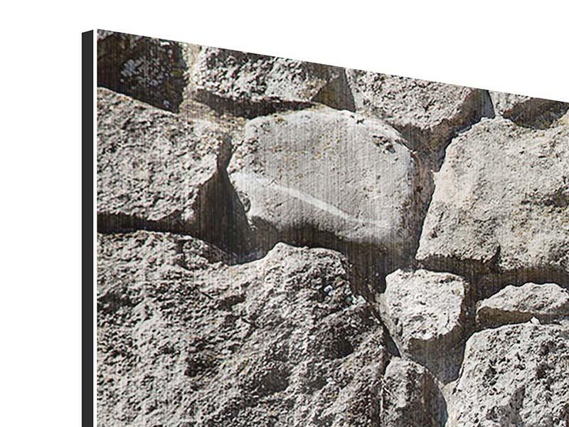 Metallic-Bild 4-teilig modern Grosses Mauerwerk