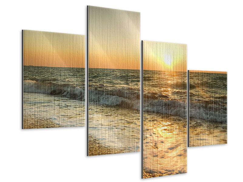 Metallic-Bild 4-teilig modern Sonnenuntergang am Meer