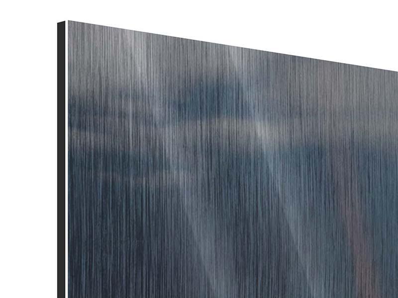 Metallic-Bild 4-teilig modern Seerose in der Abenddämmerung