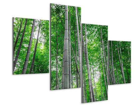 Metallic-Bild 4-teilig modern Bambuswald