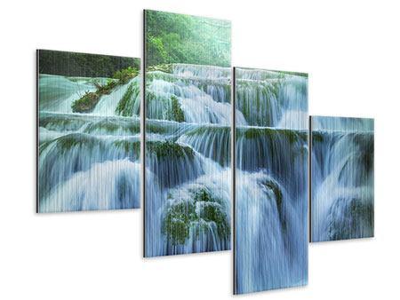 Metallic-Bild 4-teilig modern Gigantischer Wasserfall