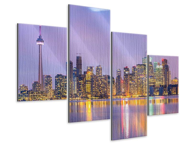 Metallic-Bild 4-teilig modern Skyline Toronto bei Nacht