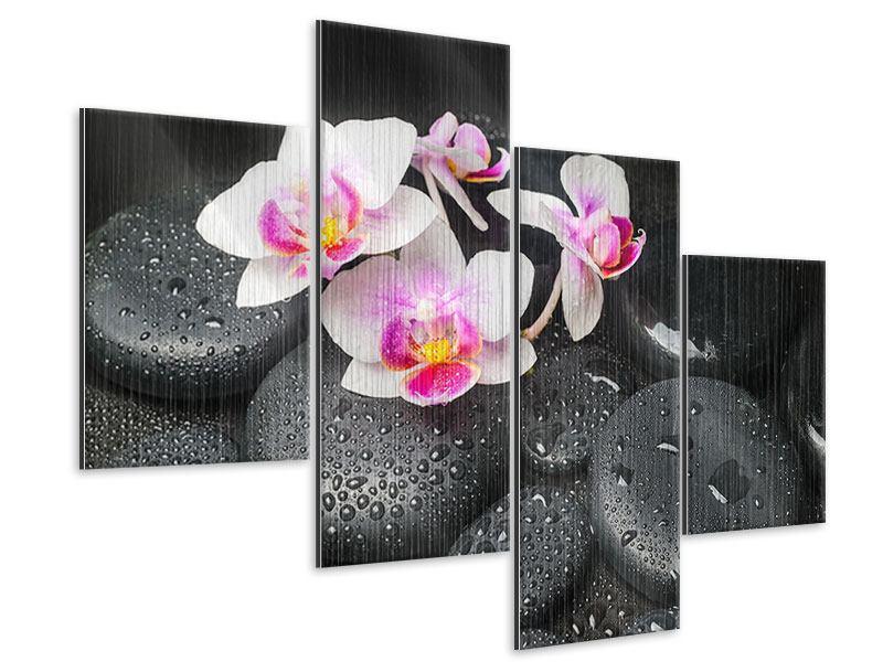 Metallic-Bild 4-teilig modern Feng-Shui-Orchidee Zen