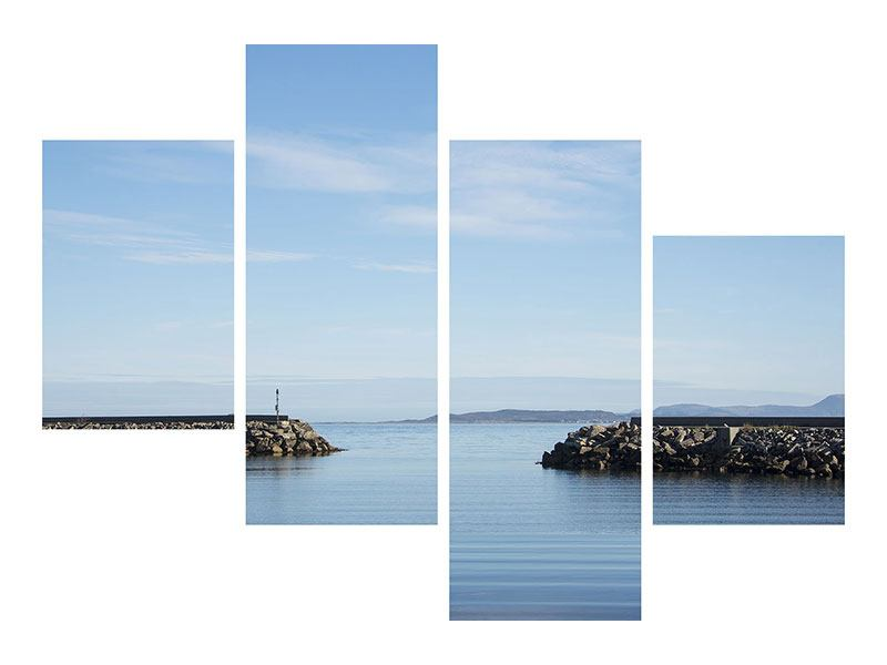 Metallic-Bild 4-teilig modern Hafenmauern