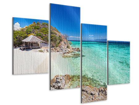 Metallic-Bild 4-teilig modern Das Haus am Strand