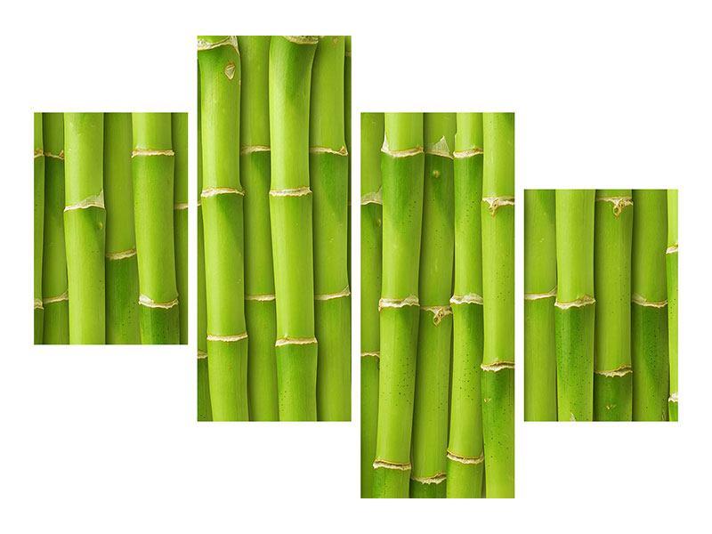 Metallic-Bild 4-teilig modern Bambuswand
