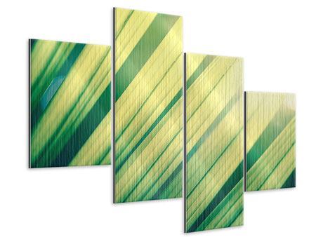 Metallic-Bild 4-teilig modern Beleuchtetes Palmblatt