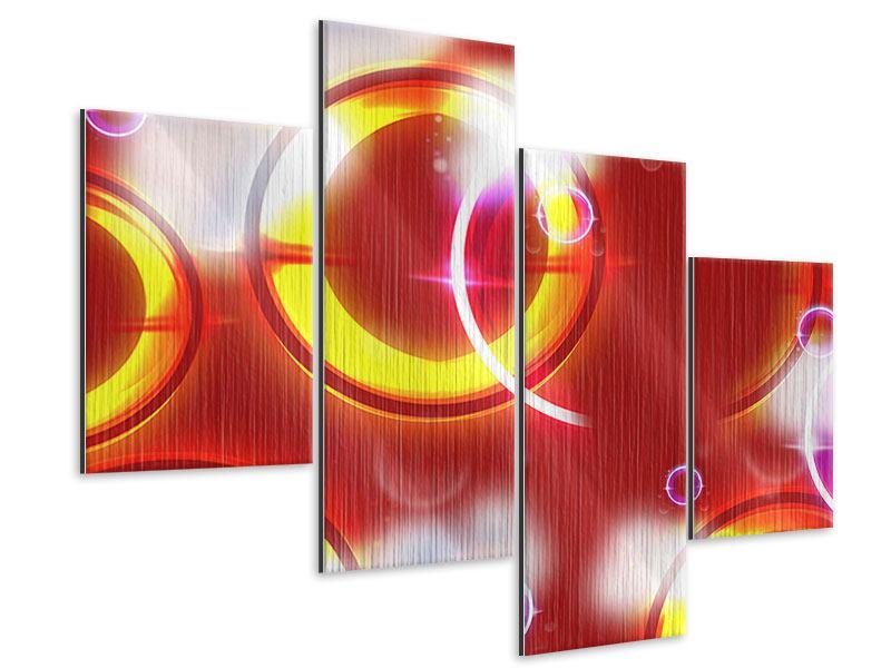 Metallic-Bild 4-teilig modern Abstraktes Retro