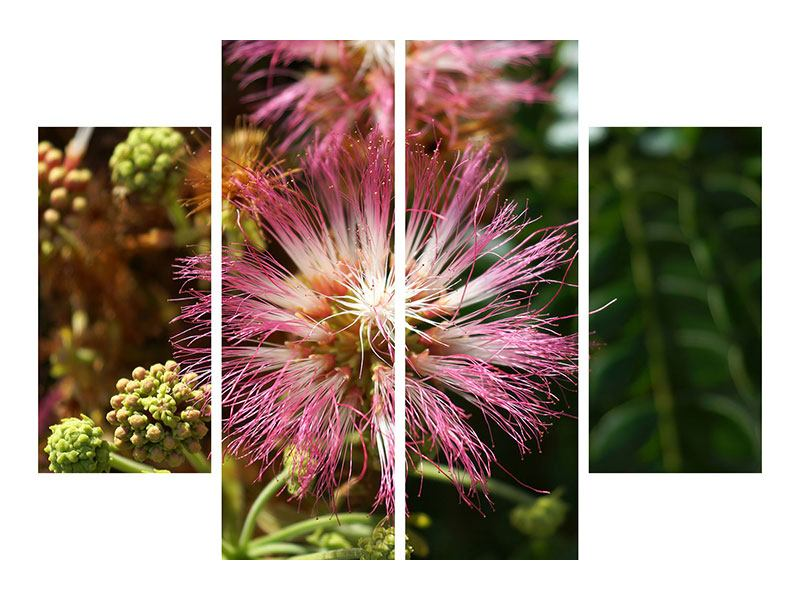 Metallic-Bild 4-teilig Die Regenbaumblüte