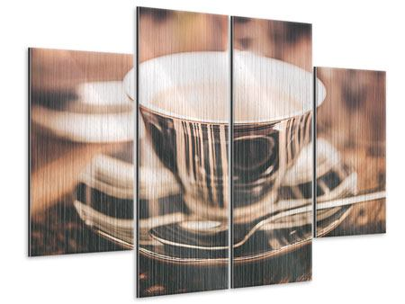 Metallic-Bild 4-teilig Der Kaffee ist fertig