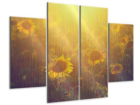 Metallic-Bild 4-teilig Sonnenblumen im goldenen Licht