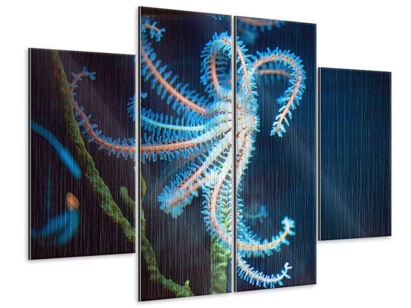 Metallic-Bild 4-teilig Aquarium