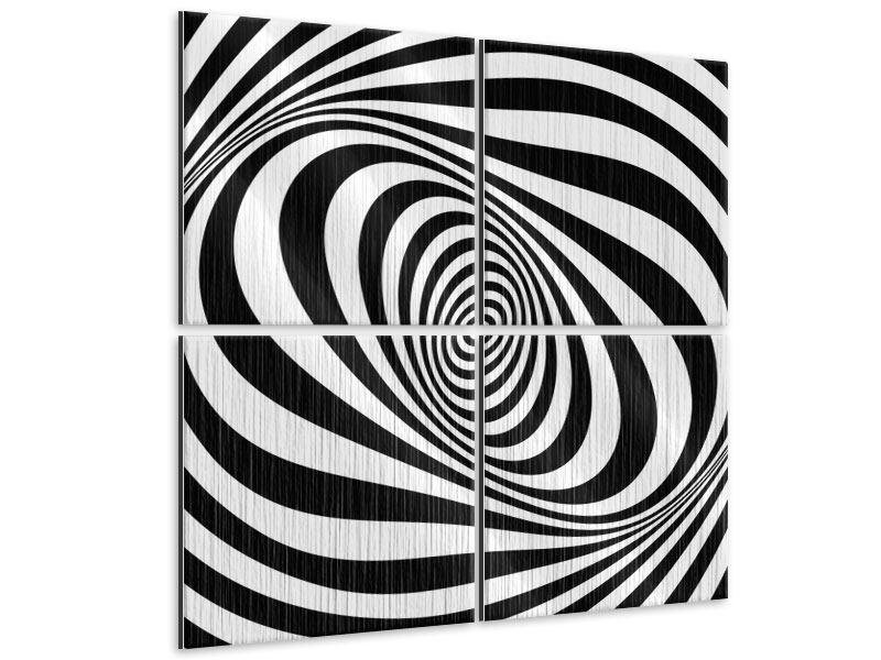 Metallic-Bild 4-teilig Abstrakte Wandbewegung