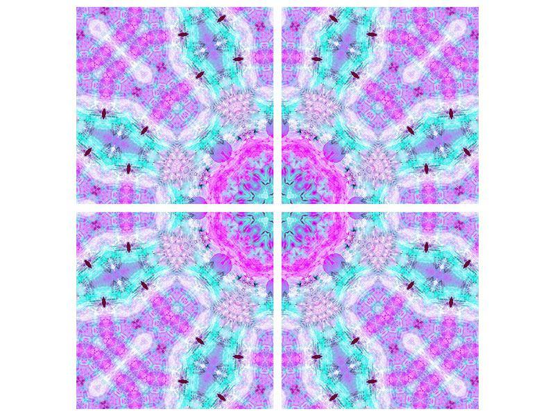 Metallic-Bild 4-teilig Lilac