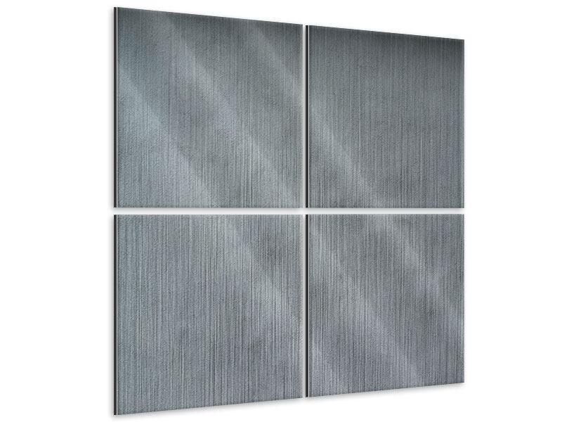 Metallic-Bild 4-teilig Dunkelgraue Wand