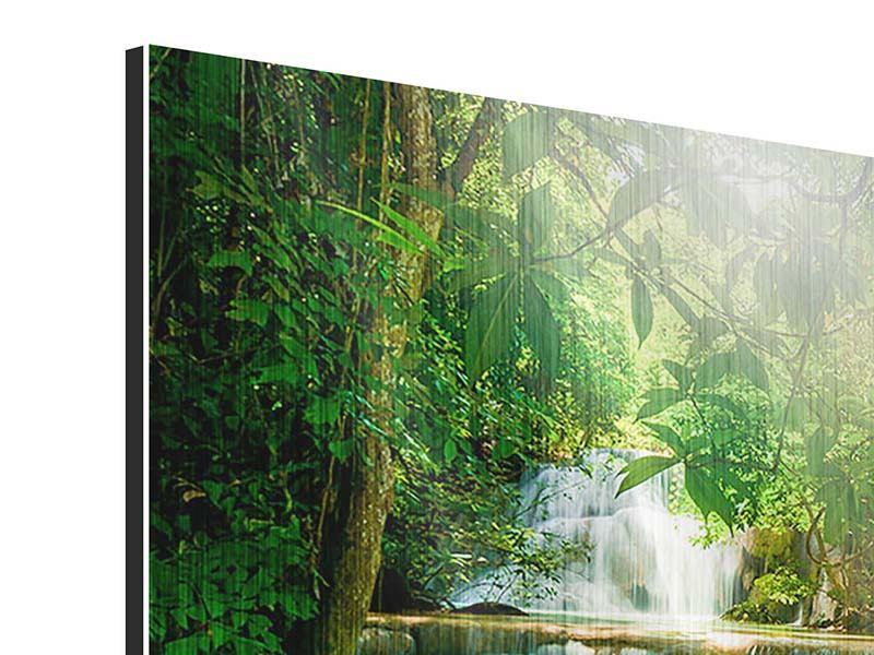 Metallic-Bild 4-teilig Wasserfall Thailand