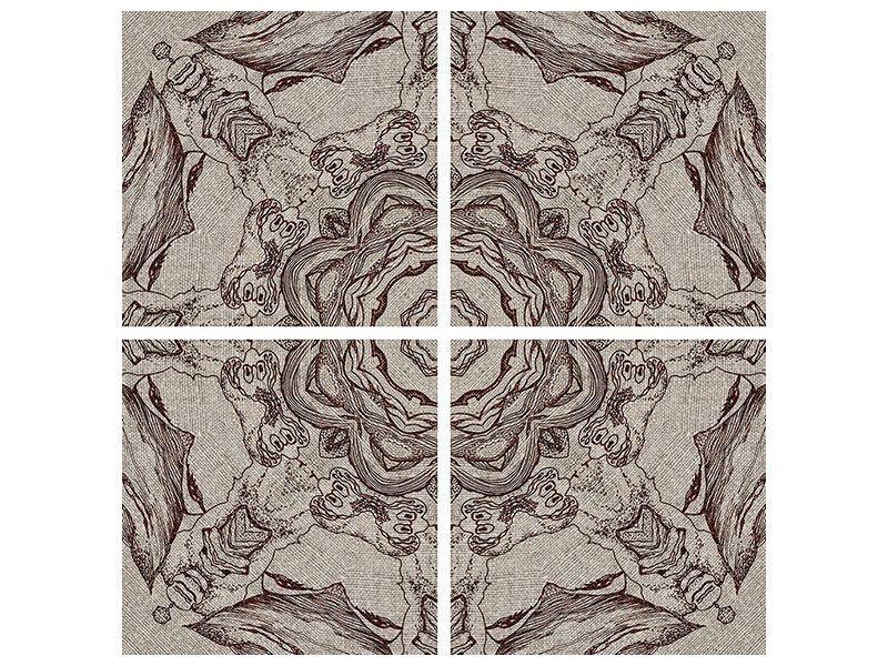 Metallic-Bild 4-teilig Retro-Style