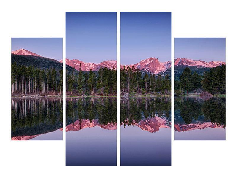 Metallic-Bild 4-teilig Sprague Lake-Rocky Mountains