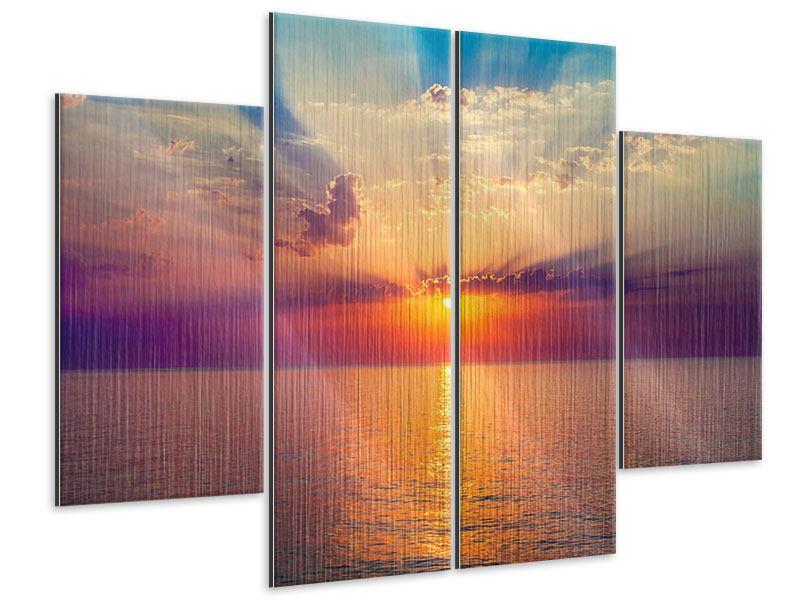 Metallic-Bild 4-teilig Mystischer Sonnenaufgang
