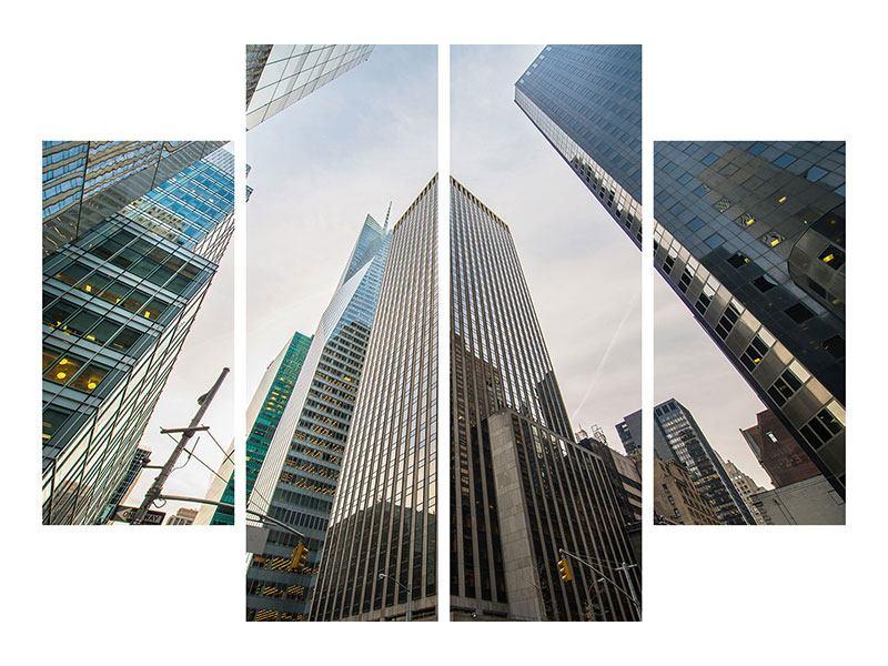 Metallic-Bild 4-teilig Hochhäuser