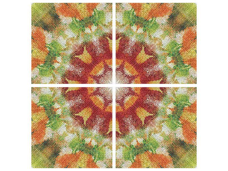 Metallic-Bild 4-teilig Musterung