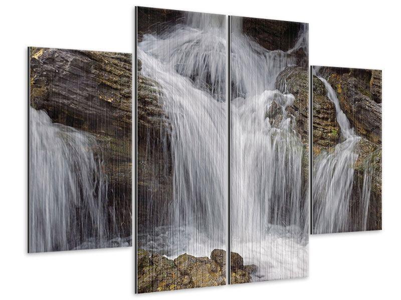 Metallic-Bild 4-teilig Wasserfall XXL