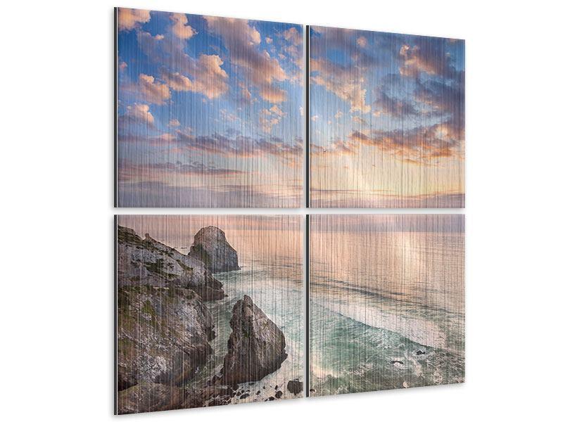 Metallic-Bild 4-teilig Romantischer Sonnenuntergang am Meer