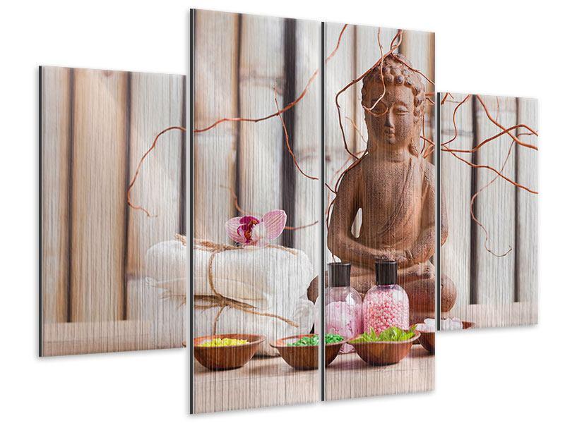 Metallic-Bild 4-teilig Buddha + Wellness