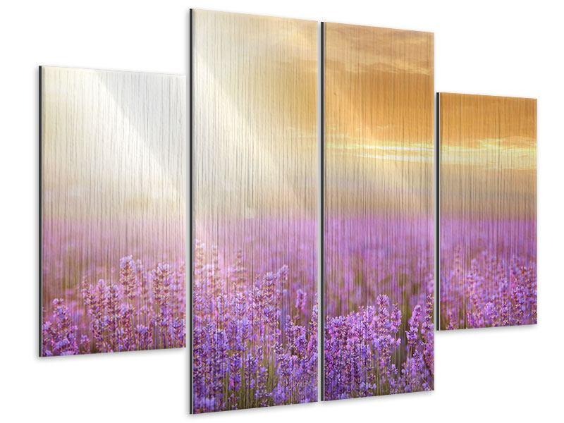Metallic-Bild 4-teilig Sonnenuntergang beim Lavendelfeld