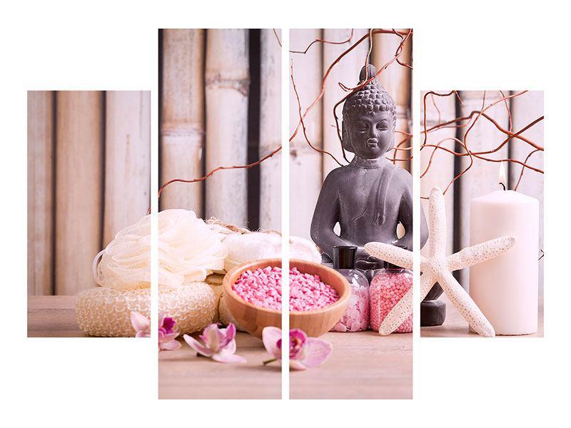 Metallic-Bild 4-teilig Spa + Buddha