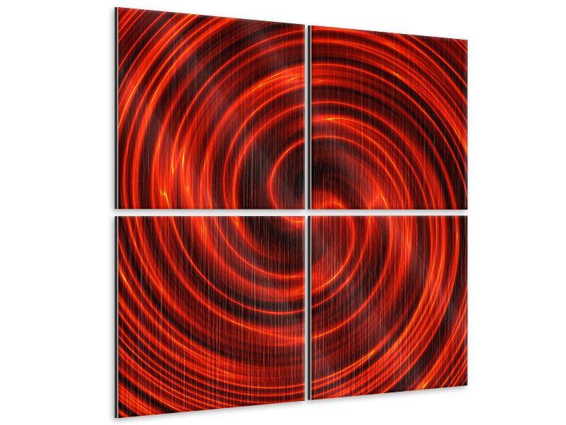 Metallic-Bild 4-teilig Abstrakte Rote Wirbel
