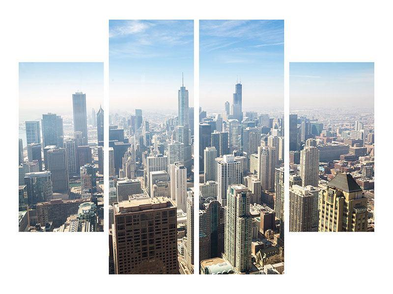 Metallic-Bild 4-teilig Wolkenkratzer Chicago