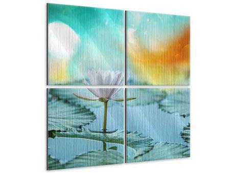 Metallic-Bild 4-teilig Verträumte Lotus
