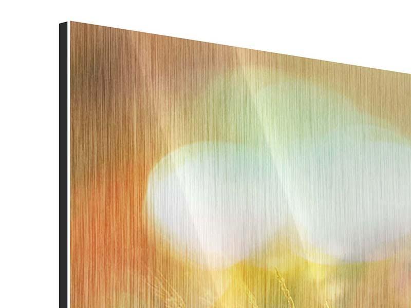 Metallic-Bild 4-teilig Blumenwiese in der Abenddämmerung