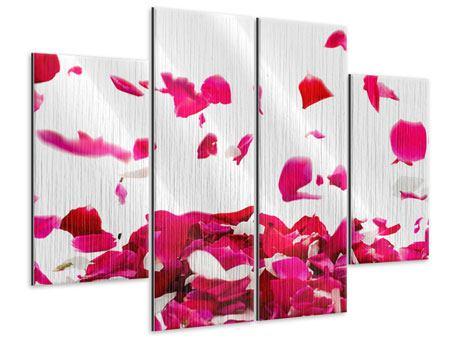 Metallic-Bild 4-teilig Für mich soll`s rote Rosen regnen