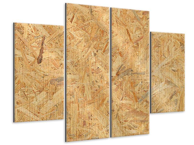 Metallic-Bild 4-teilig Gepresstes Holz