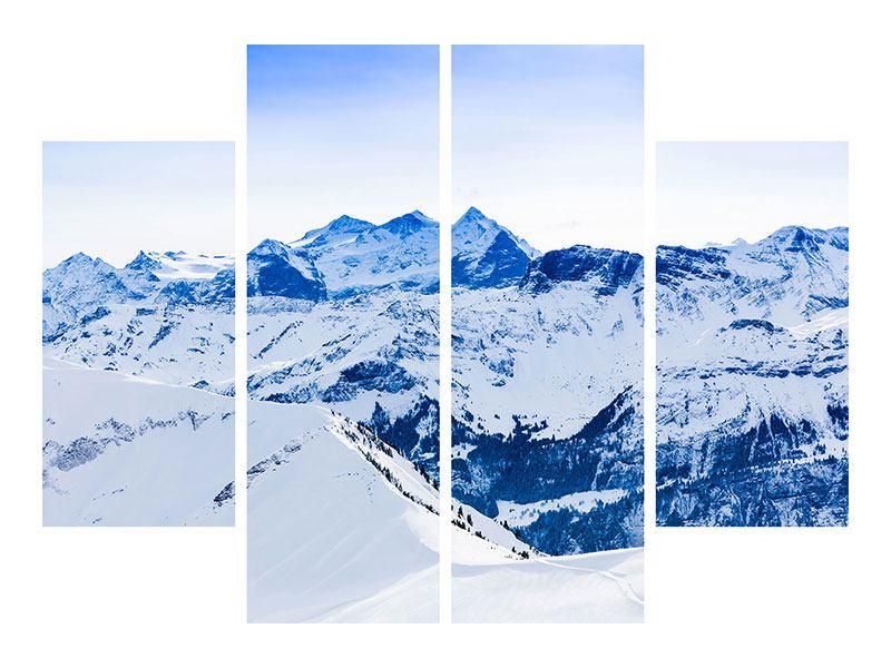 Metallic-Bild 4-teilig Die Schweizer Alpen