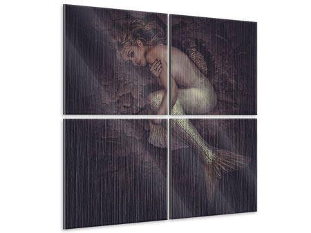 Metallic-Bild 4-teilig Meerjungfrau
