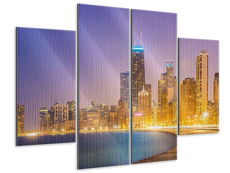 Metallic-Bild 4-teilig Skyline Chicago in der Nacht
