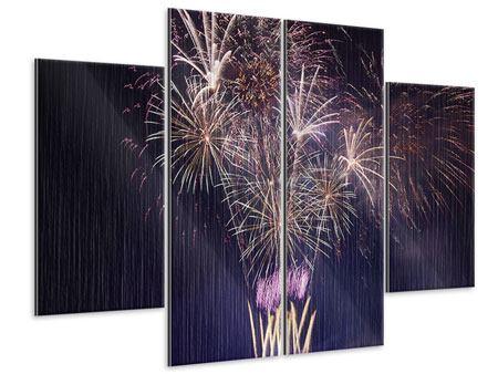 Metallic-Bild 4-teilig Feuerwerk