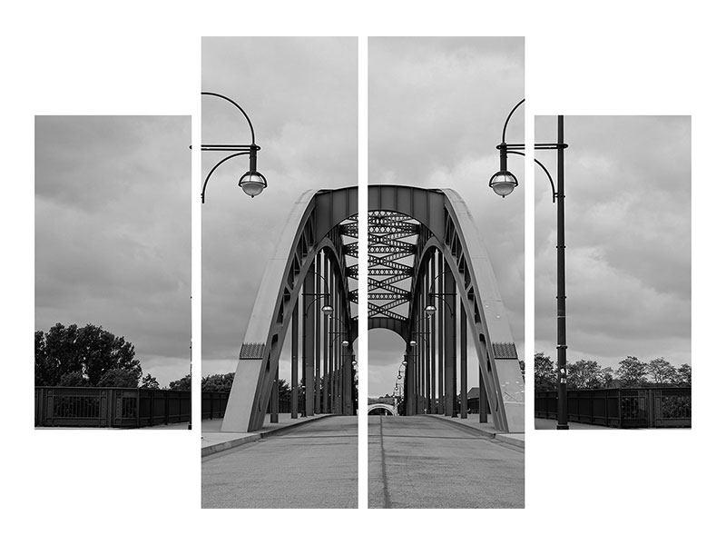 Metallic-Bild 4-teilig Poetische Brücke
