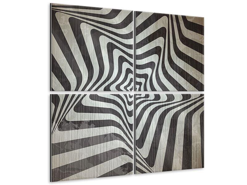 Metallic-Bild 4-teilig Abstrakte Bewegungen