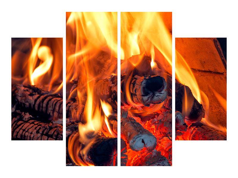 Metallic-Bild 4-teilig Lagerfeuer