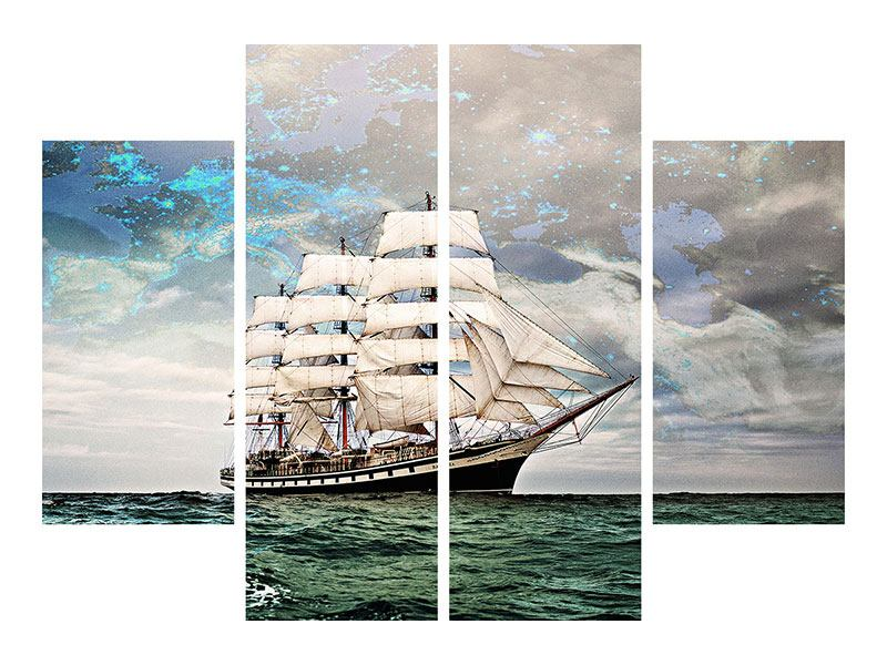 Metallic-Bild 4-teilig Segelschiff