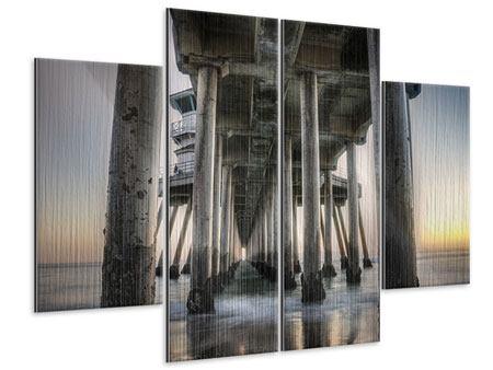 Metallic-Bild 4-teilig Brückenpfeiler