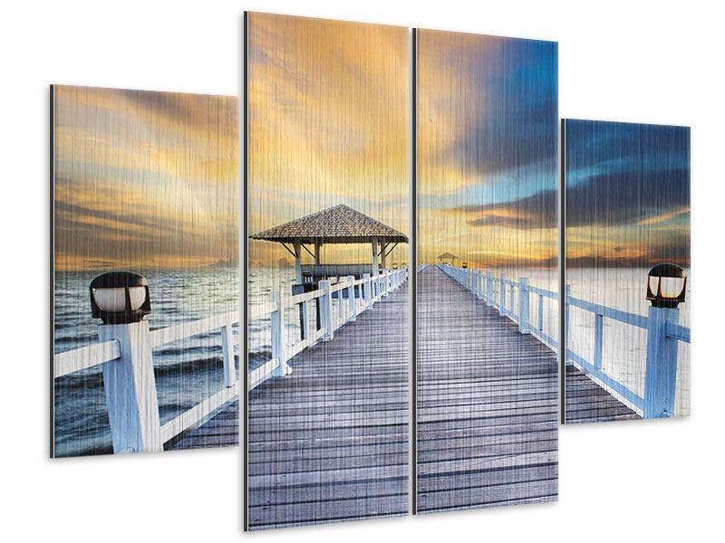 Metallic-Bild 4-teilig Die Brücke ins Meer