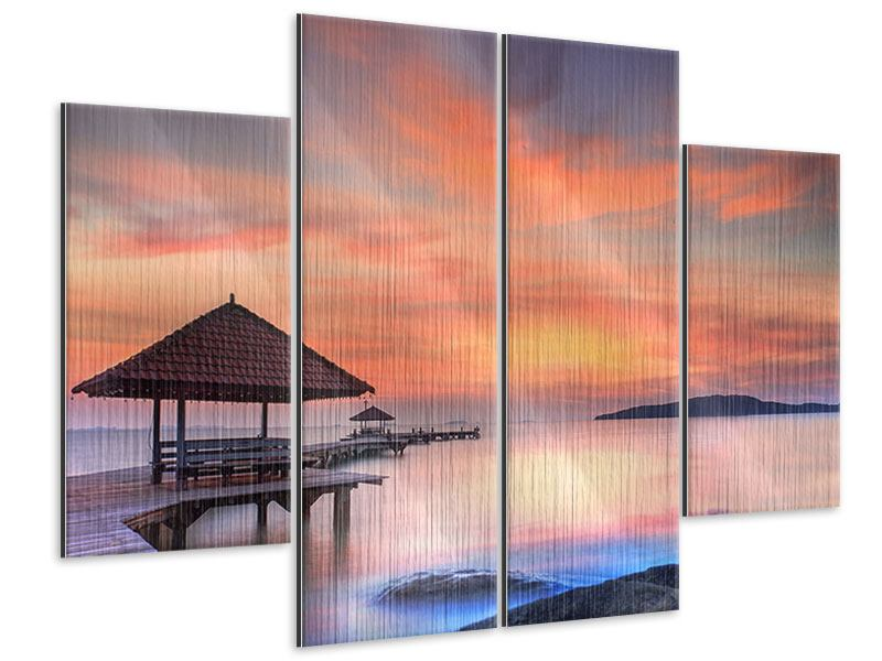Metallic-Bild 4-teilig Paradiesische Brücke