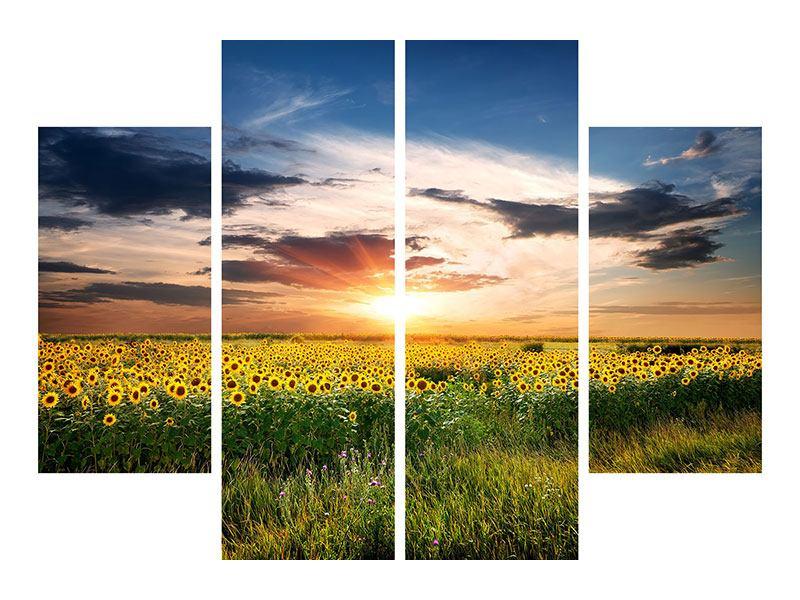 Metallic-Bild 4-teilig Ein Feld von Sonnenblumen