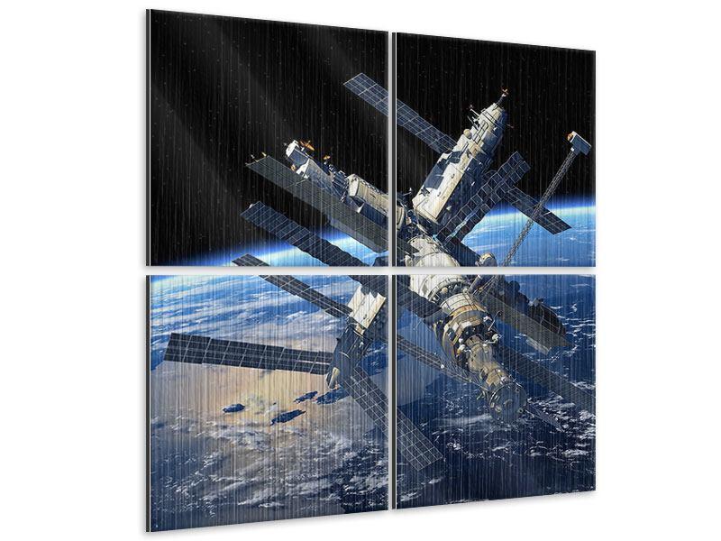 Metallic-Bild 4-teilig Raumstation
