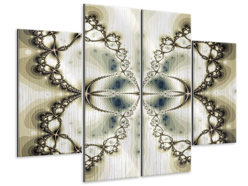 Metallic-Bild 4-teilig Abstrakter Schmetterling